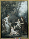 FLORA, wife of James Legge Willis, with nurse and two babies, pastel by John Russell (1745-1806) on the Stairs &amp; Landing at Clevedon Court