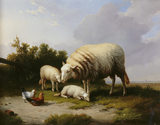 LANDSCAPE WITH SHEEP by Eugene Verboeckhoven in the Drawing Room at Llanerchaeron