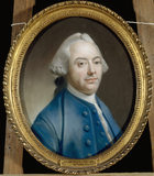 RICHARD WILLIS (1724-1780) by Francis Coates, R.A. (or Pine). This crayon portrait hangs on the stairs &amp; landing at Clevedon Court, and is in a gilt oval frame.