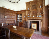 Dining Room including the overmantel, display cupboard (containing C18th armorial & Caughley porcelain), oak table (c1625) & chairs