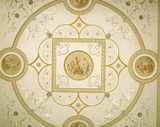 The elaborate Drawing Room ceiling designed by Henry Holland, showing the central medallion of Jupiter, Cupid and Venus
