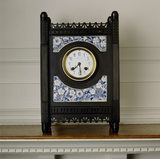 Mantel clock with blue-and-white enamel panels in Morning Room made by J. W. Benson of Bond Street