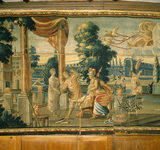 A tapestry of a mythical scene including a flying chariot pulled by swans