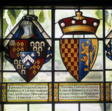 Detail of the stained glass coats of arms of Edward Ferrers (1790-1830) and his son, Marmion Edward Ferrers (1813-84), in the Great Hall at Baddesley Clinton