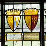 Detail of the heraldic glass in the Great Hall