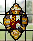 Detail of the armorial glass in the Drawing Room