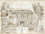 An engraving entitled &#039;PARTS OF IGHTHAM MOTE&#039; which features the Clock Tower, a coat of arms in the Great Hall, The Tower, The Chapel and a Jacobean Chimneypiece