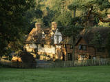 View of the Elizabethan Cottages from the south, at Ightham Mote, Kent