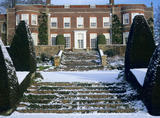 Snow-covered steps leading up from the terraced gardens to the south lawn, Hinton Ampner House