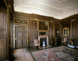 Room view of the Balcony Room at Dyrham Park showing the early 18th century wood grain panelling