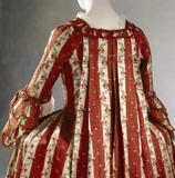 Close-up of the back of a c.1770-75 striped French silk sack- back gown