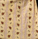 Close-up of the material of a c.1770s cotton polonaise