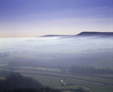 Looking S.E. from Mount Caburn, Lewes, towards Firle Beacon, E. Sussex.