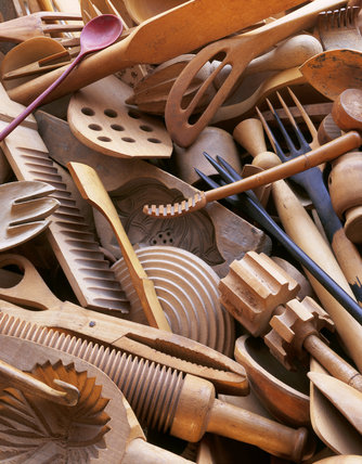 A close up of wooden utensils collected by Ursula Goldfinger at 2 Willow Road, the home designed by Erno Goldfinger