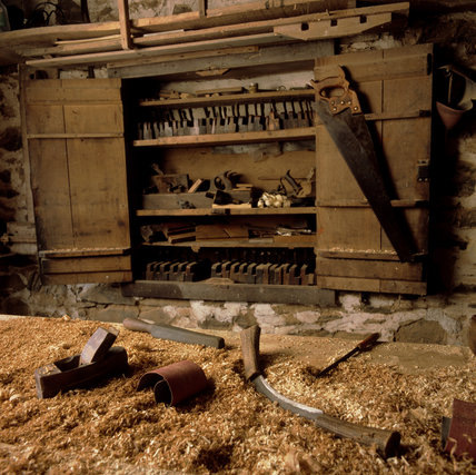 The interior of the Carpenter's Workshop at Llanerchaeron, an C18th estate near Aberaeron