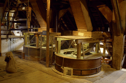 A view of the inside workings of the Nether Alderley Mill in Cheshire