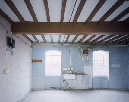1970's Bedsit Room on first floor showing window, sink, beamed ceiling and 1970's paintwork