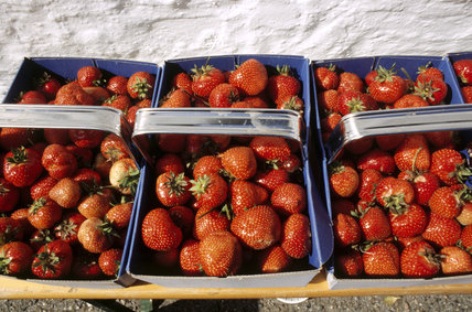 Boxes of strawberries on a table at Boscastle Midsummer Celebration, a festival of music, dance and performance