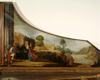 A detail of a painted german or italian 16th century single strung harpsichord in the South-East room, at Fenton House