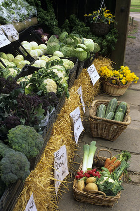 The fruit and vegetable display at Osterley Farm Shop