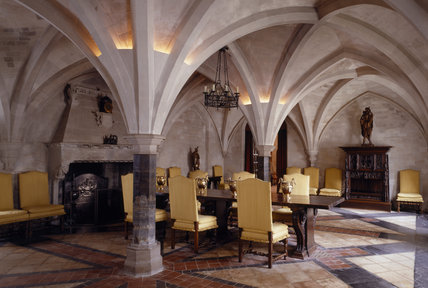 The Dining Room which dates from C13th and is a vaulted and arched stone room which used to be the Monks' Parlour