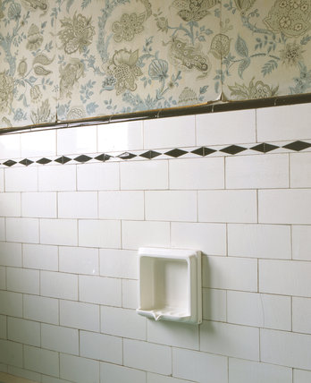 Soap holder fitted into bathroom tiles at John Lennon's home, 'Mendips', Liverpool