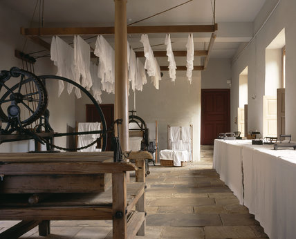 Airing racks, mangle, wooden clothes horses, flat irons and other C19th laundry equipment