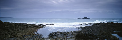 The Brisons, as seen from above the pebbled beach at Priest's Cove, Cape Cornwall