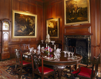 Room View Of The Dining Room At Antony House Showing The Dining Table,  Chippendale Chairs, Walnut Longcase Clock By T