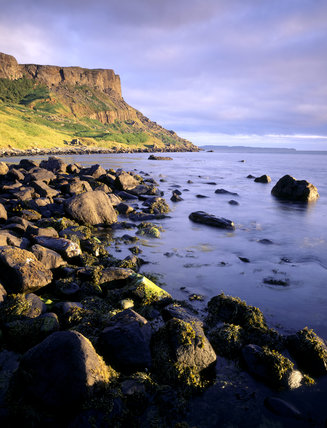 Fairhead, taken from Drumnakill Point, with Rathlin Island beyond, in the dawn sunlight