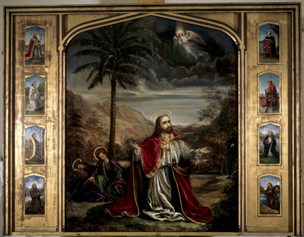 CHRIST IN THE GARDEN OF GETHSAMENE, 1887, by Rebecca Ferrers (1830-1923) in the chapel, reredos above the altar
