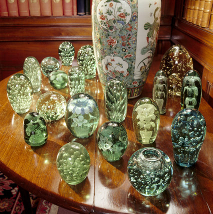 Collection of glass doorstops and paperweights