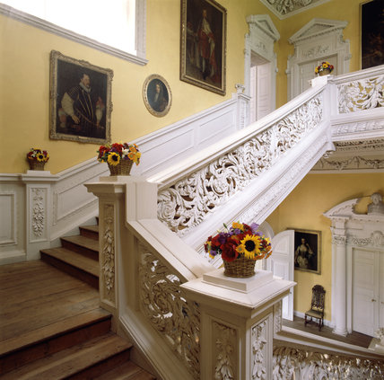 Detail of flower arrangement on the staircase at Sudbury Hall