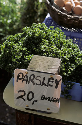 Parsley on sale at the farm shop at Osterley Park