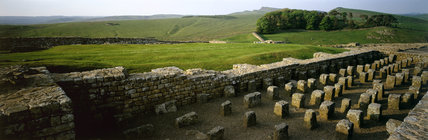 View from the Granary, Roman Fort Housesteads looking towards Sewingshields Crags