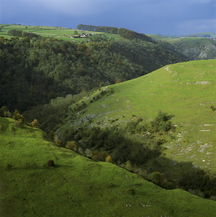 View of Air Cottage Farm perched high above the Dovedale (NT) hillside