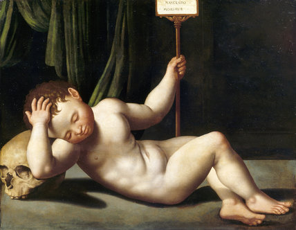 NAKED BOY WITH A SKULL by the Northern Italian School