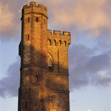 Detail of the top of Leith Hill Tower in Surrey