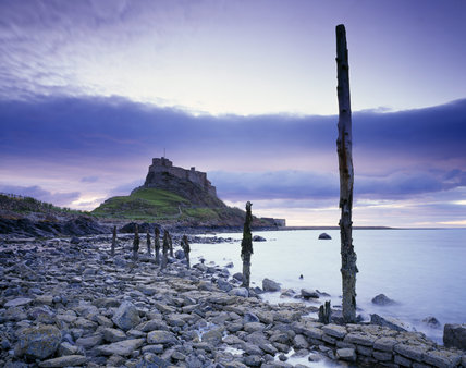 Lindisfarne Castle, seen from the rocky beach