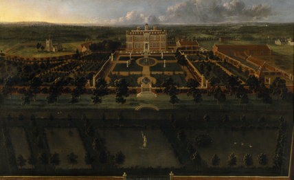 Sudbury Hall from the South with formal gardens attributed to the English painters in the second half of the eighteenth century in the stone passage at Sudbury