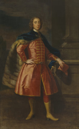 A portrait of 1ST BARON VERNON IN HUSSAR DRESS by Enoch Seeman in the Saloon at Sudbury