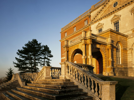 The elaborate stairways to the west front of Clandon Park