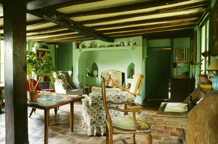 The Sitting Room at Monk's House painted in the green colour particularly liked by Virginia Woolf