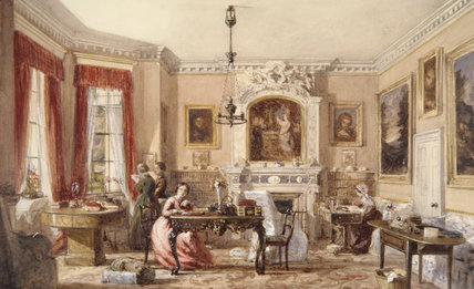 INTERIOR OF DRAWING ROOM AT WAVENDON, British school, c. 1840