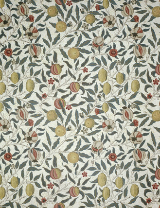 The Pomegranate wallpaper in the Billiard Room at Standen by William Morris