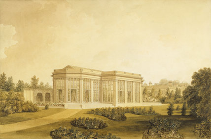VIEW OF THE CONSERVATORY AT TATTON PARK,CHESHIRE,1820 by John Buckler (1770-1851) from the NT/Egerton Collection