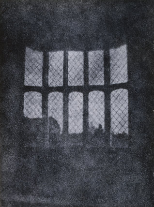 Photograph of print from Fox Talbots 1st negative of the oriel window 1835, in the south gallery