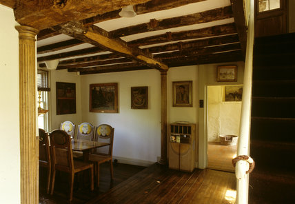 The Dining Room at Monk's House showing table and chairs by Duncan Grant and Vanessa Bell c. 1932