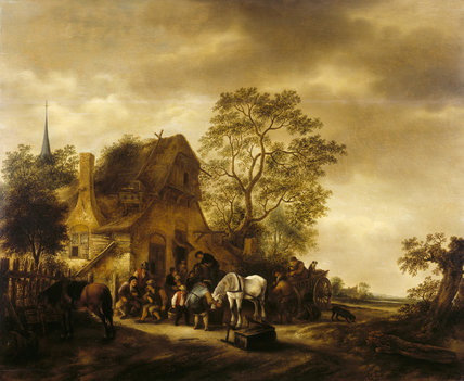 A VILLAGE INN by Isack van Ostrade (1621-1649) from the Corridor at Polseden Lacey