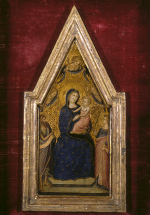 MADONNA AND CHILD WITH ST JOHN THE BAPTIST AND (?) ST CATHERINE by Luca Di Tomme (active 1355-1399) central panel of a triptych from the Corridor at Polesden Lacey